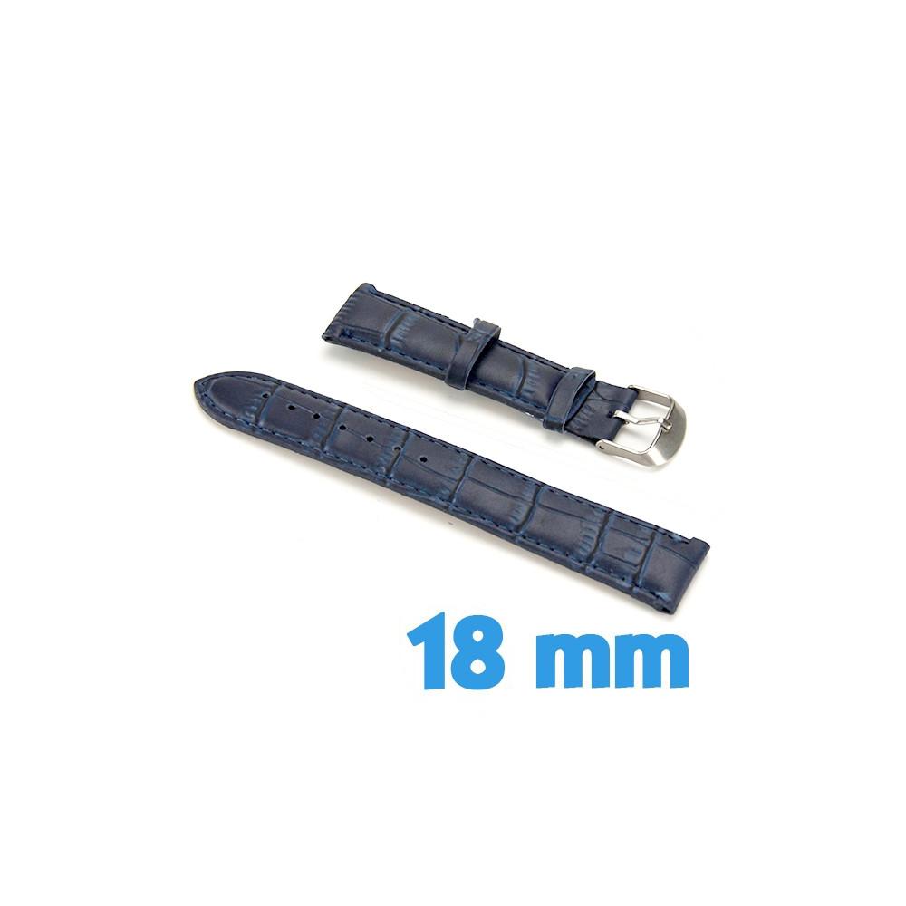 bracelet cuir bleu 18mm