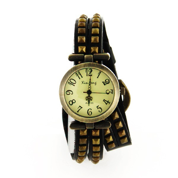 Pas Clouté Long Bracelet Chère Cuir Montre Femme 5AL4Rj