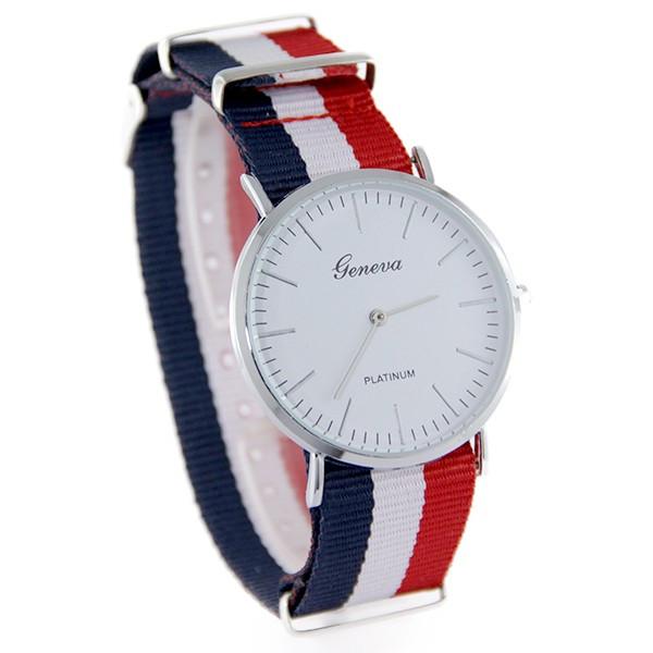 Montre homme avec bracelet bleu blanc rouge
