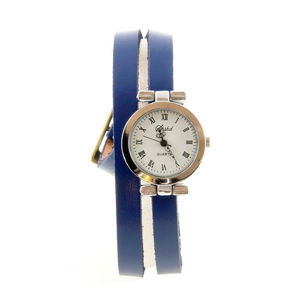 Bracelet double tour cuir bleu Montre femme pas chère