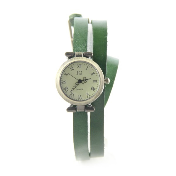 Double tour vert montre pas chère femme bracelet cuir 3152e94b735