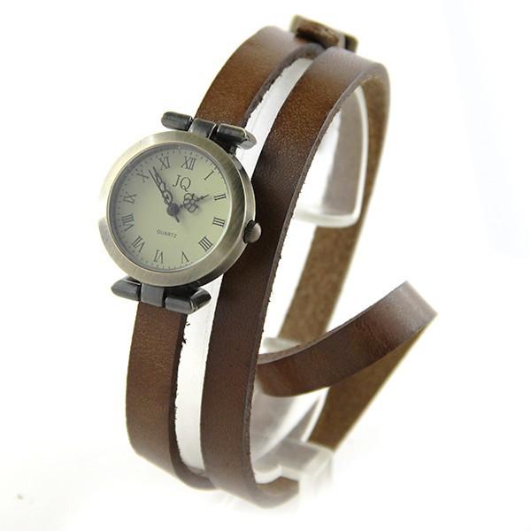 Braderie meilleur site Réduction Montre long bracelet femme pas chère cuir marron