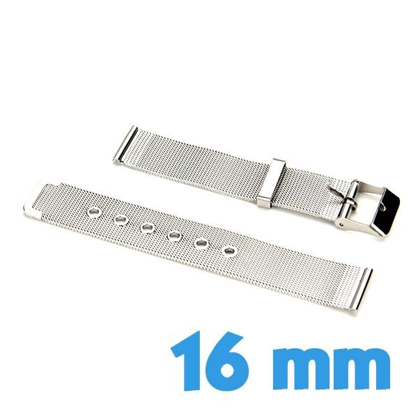 16 Acier Inoxydable Maille Pour Mm Bracelet Argenté Milanaise Montre À TcFlK13J